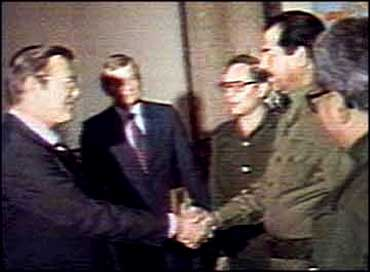 Rumsfeld and Saddam Hussein, 1983